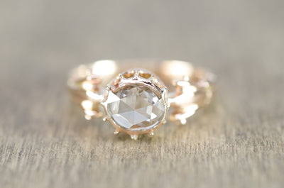 ANTIQUE ROSE CUT DIAMOND  SOLITAIRE RING - SinCityFinds Jewelry