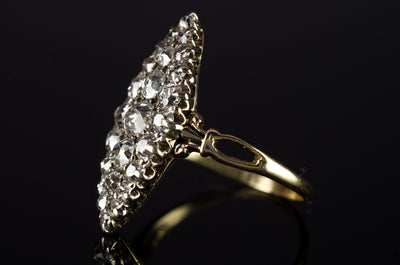 1.75CTW VICTORIAN OLD MINE CUT DIAMOND NAVETTE RING - SinCityFinds Jewelry