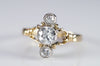 0.75CTW OLD EUROPEAN AND MINE CUT 3 STONE GOLD AND PLATINUM RING - SinCityFinds Jewelry