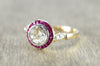 ANTIQUE FRENCH ROSE CUT TARGET RING WITH RUBY HALO - SinCityFinds Jewelry
