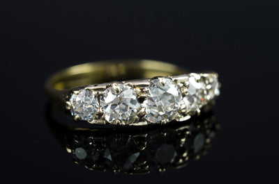 1.80CTW ANTIQUE FIVE STONE OLD CUT DIAMOND BAND