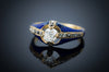 ANTIQUE ENAMEL AND OLD MINE CUT DIAMOND RING - SinCityFinds Jewelry