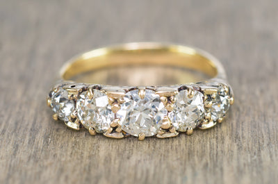 1.80CTW ANTIQUE FIVE STONE OLD CUT DIAMOND BAND - SinCityFinds Jewelry