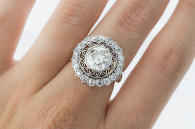 EDWARDIAN INSPIRED HALO SEMI MOUNT - SinCityFinds Jewelry