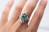 EMERALD AND DIAMOND NAVETTE SHAPE RING - SinCityFinds Jewelry