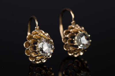 ANTIQUE DANGLE ROSE CUT DIAMOND EARRINGS - SinCityFinds Jewelry