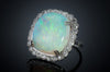 CUSHION CUT OPAL AND DIAMOND RING - SinCityFinds Jewelry