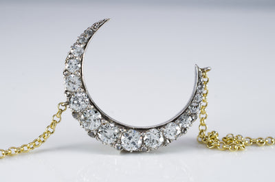 2.15CTW  ANTIQUE CRESCENT MOON BROOCH CONVERSION - SinCityFinds Jewelry