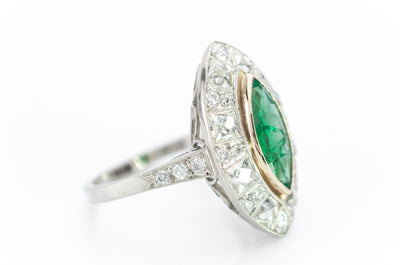 MARQUISE EMERALD ON FRENCH CUT DIAMOND HALO - SinCityFinds Jewelry