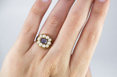 ANTIQUE EARLY VICTORIAN AMETHYST AND SPLIT PEARL RING - SinCityFinds Jewelry