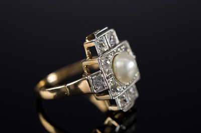 PLATINUM AND GOLD PEARL AND OLD CUT DIAMOND RING - SinCityFinds Jewelry