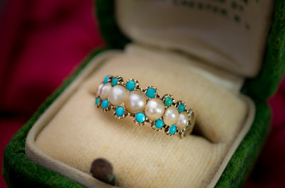 ANTIQUE SPLIT PEARL AND TURQUOISE RING - SinCityFinds Jewelry