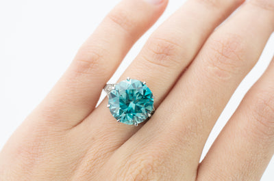 11CT BLUE ZIRCON SOLITAIRE WITH ACCENTS - SinCityFinds Jewelry