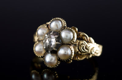 ANTIQUE SPLIT PEARL AND ROSE CUT DIAMOND MOURNING RING