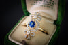 SAPPHIRE AND OLD CUT DIAMOND ANTIQUE BOW RING