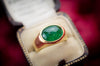 6CT EMERALD CABOCHON GYPSY SET RING IN 18K - SinCityFinds Jewelry
