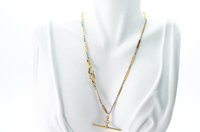 18k MIXED YELLOW AND WHITE GOLD VINTAGE WATCH CHAIN - SinCityFinds Jewelry