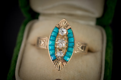 TURQUOISE AND MINE CUT DIAMOND NAVETTE RING - SinCityFinds Jewelry