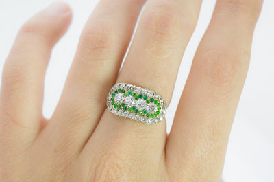 OLD EUROPEAN CUT DIAMOND AND EMERALD RING