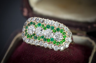OLD EUROPEAN CUT DIAMOND AND EMERALD RING - SinCityFinds Jewelry