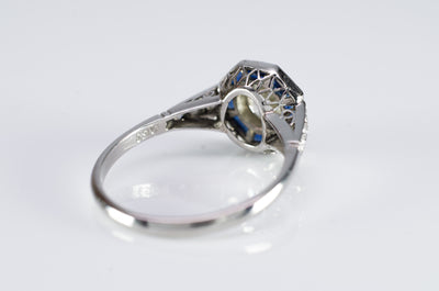 MINE CUT DIAMOND AND FRENCH CUT SAPPHIRE TARGET RING - SinCityFinds Jewelry