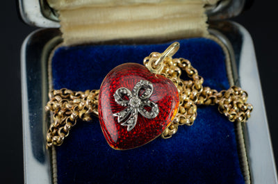 ANTIQUE 18K GOLD  RED ENAMEL HEART WITH DIAMOND BOW LOCKET - SinCityFinds Jewelry