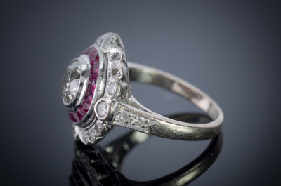 OLD EUROPEAN CUT DIAMOND AND RUBY TARGET RING - SinCityFinds Jewelry