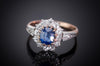 EDWARDIAN SAPPHIRE AND OLD CUT DIAMOND HALO RING - SinCityFinds Jewelry