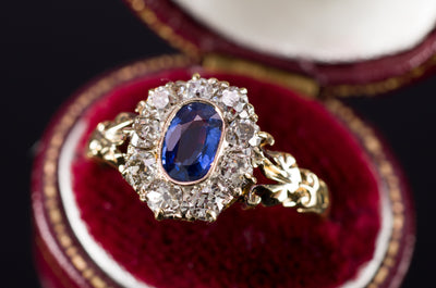 ANTIQUE SAPPHIRE AND OLD MINE CUT RING - SinCityFinds Jewelry