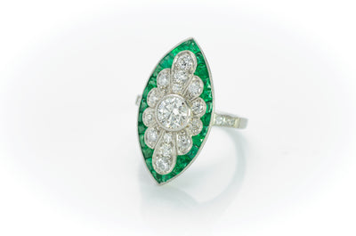 FRENCH CUT EMERALD AND DIAMOND NAVETTE SHAPED RING