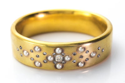 ANTIQUE FRENCH DIAMOND AND PEARL BANGLE IN 18K - SinCityFinds Jewelry
