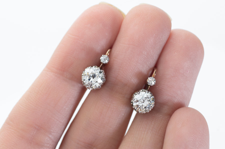 1.60CTW FRENCH DORMEUSES EARRINGS IN 18K AND PLATINUM