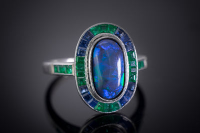BLACK OPAL SAPPHIRE AND EMERALD TARGET RING - SinCityFinds Jewelry