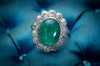 6.5CTW EMERALD CABOCHON AND DIAMOND HALO RING - SinCityFinds Jewelry