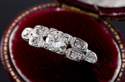 0.57CTW ART DECO TRANSITIONAL CUT DIAMOND RING IN 18K WHITE GOLD - SinCityFinds Jewelry