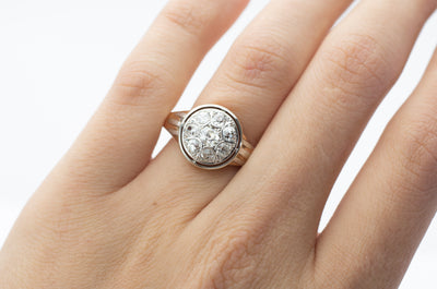 0.85CTW OLD MINE DIAMOND CLUSTER RING - SinCityFinds Jewelry
