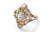 ART DECO YELLOW GOLD FILIGREE DIAMOND RING