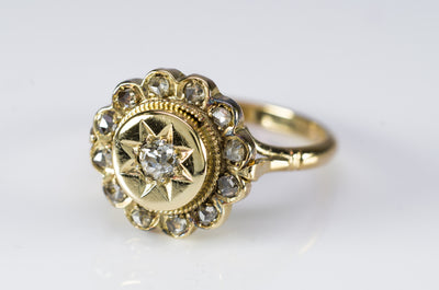 ANTIQUE OLD MINE CUT AND ROSE CUT DIAMOND RING
