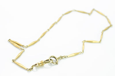 14.25 INCH 14K GOLD FANCY LINK WATCH CHAIN