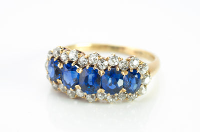3.37CTW FIVE STONE SAPPHIRE AND OLD CUT DIAMOND RING GIA - SinCityFinds Jewelry