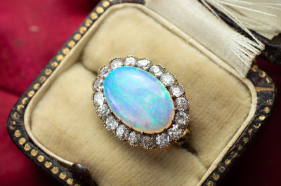 OPAL AND OLD EUROPEAN CUT DIAMOND PIN - SinCityFinds Jewelry