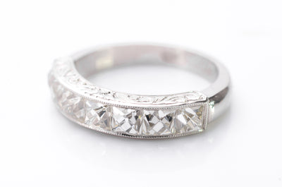 2.1CTW FRENCH CUT 7 STONE BAND IN PLATINUM