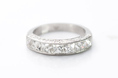 2.1CTW FRENCH CUT 7 STONE BAND IN PLATINUM - SinCityFinds Jewelry