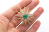 OLD MINE CUT DIAMOND AND EMERALD CABOCHON STAR BROOCH - SinCityFinds Jewelry