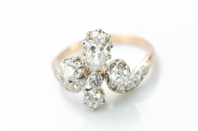 1.55CTW TIARA STYLE RING WITH OLD CUT DIAMONDS