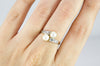 VINTAGE MINE CUT DIAMOND AND PEARL TOI ET MOI RING - SinCityFinds Jewelry