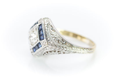 VINTAGE OLD EUROPEAN CUT DIAMOND AND SAPPHIRE RING - SinCityFinds Jewelry