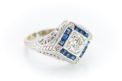 VINTAGE OLD EUROPEAN CUT DIAMOND AND SAPPHIRE RING
