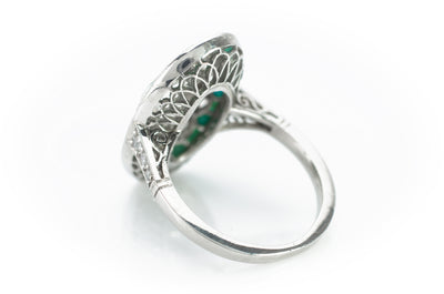 TURQUOISE AND DIAMOND ART DECO STYLE RING
