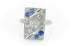 ART DECO DIAMOND AND SAPPHIRE PLAQUE STYLE RING - SinCityFinds Jewelry